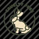 cruelty free, eco, no animals killing, not tested on animals, rabbit, vegan icon
