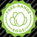 bio, eggs, free range, green, healthy, label, organic icon