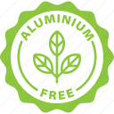aluminium, aluminium free, antiperspirant, deodorant, green, label, natural icon
