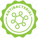 antibacterial, bacteria, green, hygiene, label, soap, tag icon