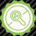 crossed, green, label, magnifier, microplastics, microplastics free icon