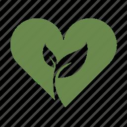 eco friendly, environmentally friendly, green, growth, heart, hippie, love, tree hugger icon