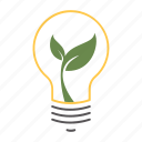 eco friendly, energy efficient, environmentally friendly, green energy, growth, idea, innovate, lightbulb icon