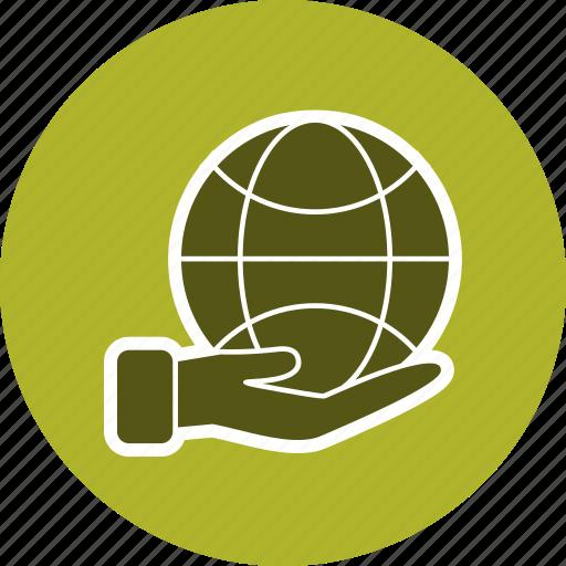 earth on hand, eco, globe, world icon