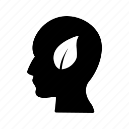 eco mind, head, leaf icon