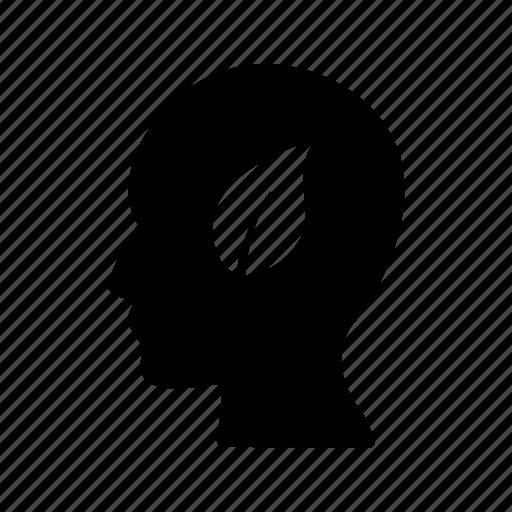 eco mind, head, leaf, mind icon