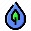 ecology, leaf, nature, water icon