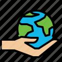 eco, globe, hand icon