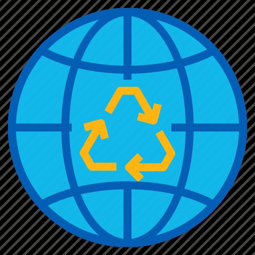 eco, ecology, globe, nature, reuse icon