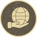 earth on hand, eco, globe icon