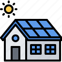 eco, ecology, green, house, nature, panel, solar icon
