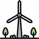 eco, ecology, electricity, green, nature, tree, windmill icon