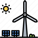 eco, ecology, green, nature, panel, solar, windmill icon