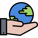 eco, ecology, green, hand, nature, planet, support icon