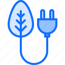 eco, ecology, energy, green, leaf, nature, plug icon