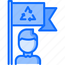 eco, ecology, flag, green, man, nature, recycling