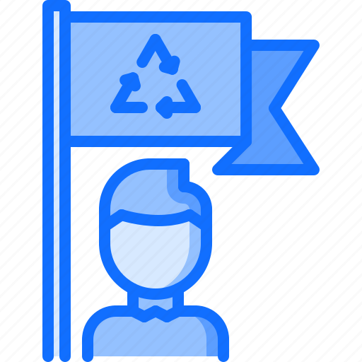 eco, ecology, flag, green, man, nature, recycling icon