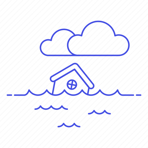 change, climate, cloud, disaster, ecology, effect, flood, house, impact, natural, sea, submerged, water icon
