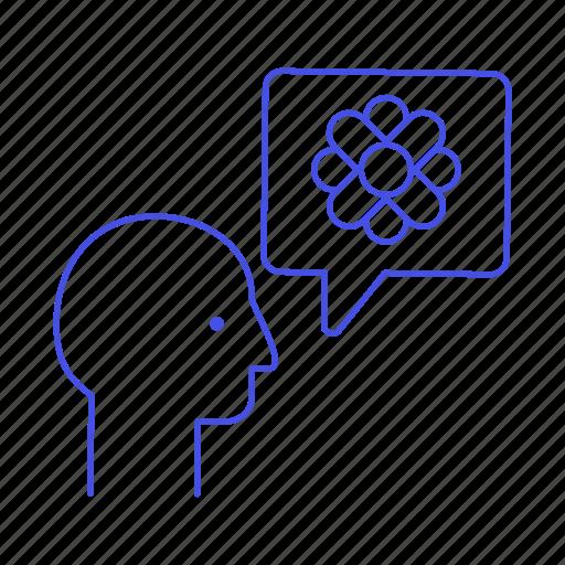 1, awareness, bubble, care, ecology, envirionmental, flower, head, speech, talk icon