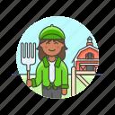 animal, barn, ecology, farmer, food, hayfork, prepare, woman icon