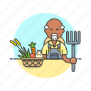 agriculture, basket, collect, ecology, farmer, hayfork, man, vegetable icon