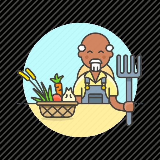 agriculture, basket, collect, ecology, farmer, hayfork, man, vegetable icon