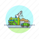 ecology, environment, garbage, green, recycle, station, truck icon