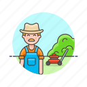 cut, ecology, gardener, grass, machine, man, mow icon
