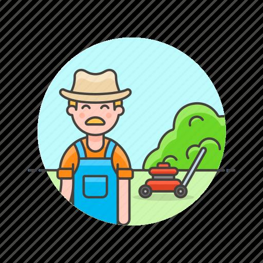cut, ecology, gardener, grass, machine, man, mow icon