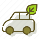 car, green, leaf icon