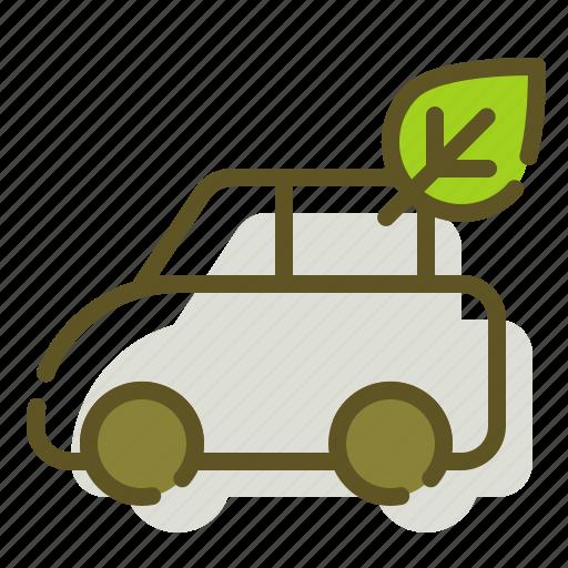 car, green, leaf icon