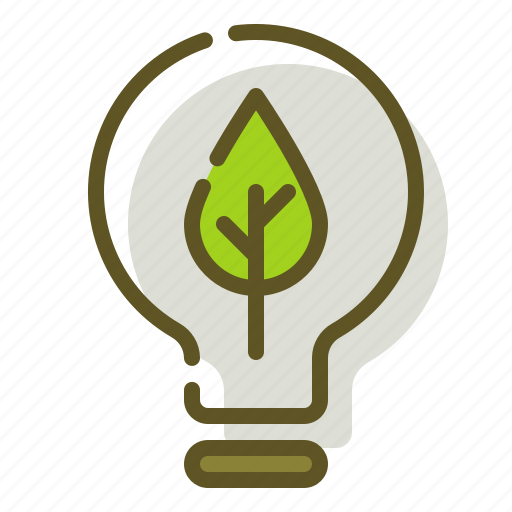 electricity, green, leaf, lightbulb icon