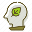 green, plant, thinking, thought icon