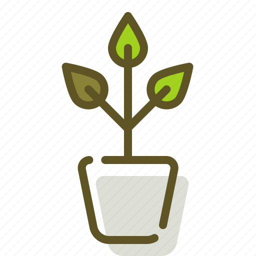 green, plant, pot, sprout icon