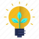 ecology, electricity, go green, green, growth, idea, think icon