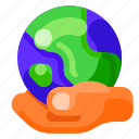 earth, ecology, environmental, hand, nature, with icon