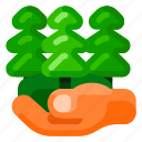 ecology, environmental, hand, nature, plant, trees, with icon