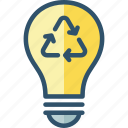 bulb, energy, light, recycle, recycling icon