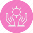 ecology, hand, nature, sun icon