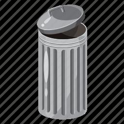 basket, bin, can, cartoon, dump, dustbin, trash icon