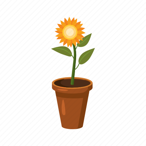cartoon, flower, growth, nature, plant, pot, spring icon