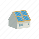 battery, cartoon, energy, environment, house, panel, solar icon
