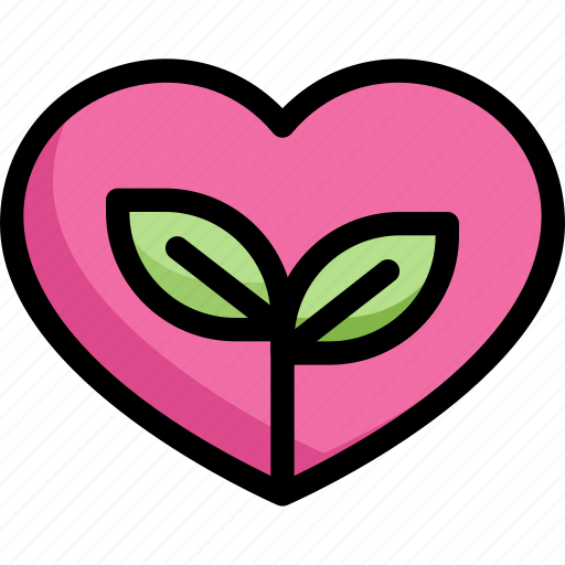 eco, eco love, ecology, energy, heart, nature, plant icon