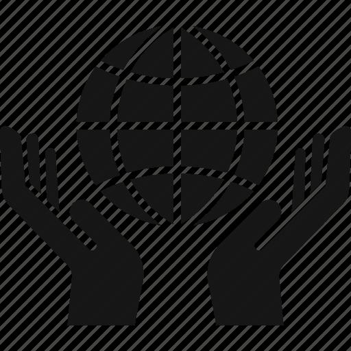 globe, hands, network, world icon