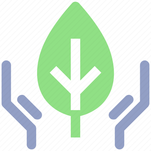 conservation, ecology, environment, hand, leaf, nature, plant, recycling icon