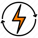 electric, energy, power, recycle, thunder icon