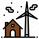 ecology, home, house, turbine, wind icon