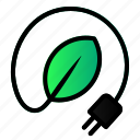 cable, ecology, energy, enviroment, green, leaf, power icon