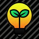 ecology, energy, green, lamp, leaf, light icon