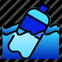 bottle, ecology, plastic, polution, sea, water icon